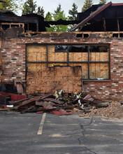 Damaged Burnt Brick Building