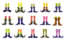 Cartoon Vector Legs Of Fairy, Witch, Sorceress, Hellcat, Elf And Enchantress. Halloween, Fairytale, Christmas Or Saint Patrick Day Characters. Cute Funny Feet In Boots, Striped Stoking And Nosy Shoes