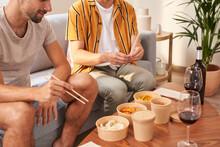 Asian Takeaway Food And Men.