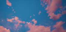 Pink Clouds On Blue Sky. Panorama