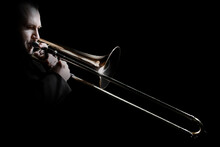 Trombone Player. Trombonist Playing Jazz Musician