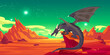Fairytale black dragon on cliff in mountains. Vector cartoon fantasy illustration of spooky magic beast with wings and red desert landscape with rocks at night