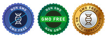Non GMO Free No Genetically Modified Organism Set Emblem Sticker Tag Badge Symbol In Gold Blue And Green