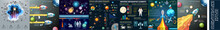Set Of Universe Infographics - Solar System, Space Infographics, Planets Comparison, Sun And Moon Facts, Space And Rocket Background