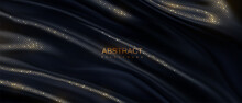 Black Wavy Textile With Golden Glitters Pattern