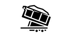 Sand Transportation Trailer Animated Line Icon. Sand Transportation Trailer Sign. Isolated On White Background