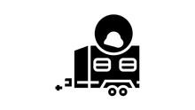 Animal Transportation Trailer Animated Glyph Icon. Animal Transportation Trailer Sign. Isolated On White Background