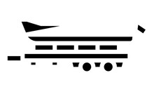 Boat Transportation Trailer Animated Glyph Icon. Boat Transportation Trailer Sign. Isolated On White Background