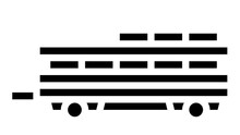 Farm Products Transportation Trailer Animated Glyph Icon. Farm Products Transportation Trailer Sign. Isolated On White Background