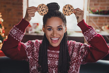 Photo Of Funny Crazy Lady Make Cookie Mickey Mouse Ears Have X-mas Fun Wear Jumper In Decorated Home Indoors