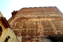 Low Angle Shot Of A Wall At Meharongarh Fort In Jodhpur, Rajasthan, India