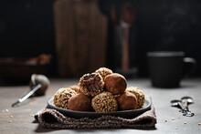Chocolate Truffles With Kakao And Nuts