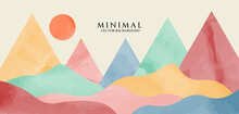 Watercolor Art Background Vector. Mountain Landscape Wallpaper Design For Cover, Invitation Background, Packaging Design, Fabric, And Print. EPS10 Vector Background