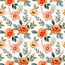 Seamless Pattern Of Green Brown Floral Watercolor