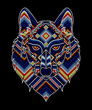 vector illustration of colorful beaded wolf head inspired in mexican huichol art. Isolated on black background.