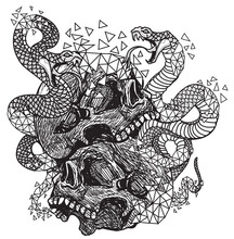 Tattoo Art Skull And Snake Hand Drawing And Sketch