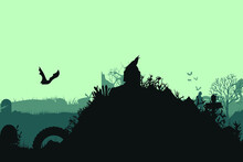 Spooky Abandoned Cemetery With Monsters And Zombies, Bat, Night. Vector