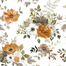 Watercolor Floral Seamless Pattern With Rust, Burnt Orange, Grey And Pastel Flowers On White Background. Beautiful Botanical Print. Fall Themed Design.