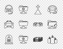 Set Line Tombstone With RIP Written, Burning Candles, Cross, FTP Settings Folder, Headphone For Support, Paper Money Dollars Cash And Upload Icon. Vector