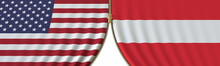 United States And Austria Cooperation Or Conflict, Flags And Closing Or Opening Zipper Between Them. Conceptual 3D Rendering