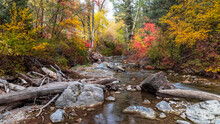 Scenic Landscape Of American Fork River In Utah During Autumn Time