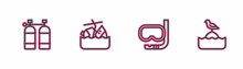 Set Line Aqualung, Diving Mask And Snorkel, Sinking Cruise Ship And Seagull Sits On Buoy Icon. Vector