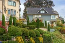 Colrful Seattle Neighborhood In A Suburb WA. State.