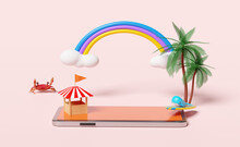 Building Shop Store Front With Mobile Phone,smartphone,palm Tree,whale,crab,rainbow,cloud,surfboard Isolated On Pink Background.online Shopping Summer Sale Concept ,3d Illustration,3d Render