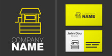 Logotype Line Well Icon Isolated On Grey Background. Logo Design Template Element. Vector