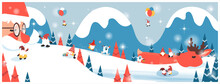 Panoramic Vector Illustration Of Winter Wonderland Background.The Cute Fantacy Christma.Santa Clause And Reindeer Sleep Under Snow Fir.  Gnome,bigfoot All Around.Concept Of Happy Peaceful Christmas
