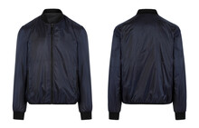 Blue Man's Jacket. Front And Back View