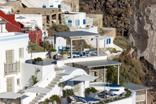 Whitewashed Houses In Imerovigli On Santorini Island, Cyclades, Greece
