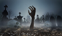 Scary Zombie Hand In Cemetery Or Graveyard Sticking Out Of The Ground. 3D Rendered Illustration.