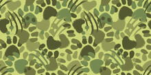 Camouflage Seamless Pattern With Animal Paw Prints And Claws Scratches. Dog Or Cat Hand Drawn Paw Print Background.