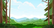 Mountains Scorn In The Forest Away. View From The Coniferous Forest. Beautiful Summer Landscape With Trees. Green Pines And Ate. Illustration In Cartoon Style Flat Design. Vector