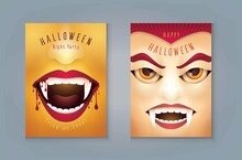 Happy Halloween Party, Set Of Abstract Halloween Scary Vampire Mouth With Blood