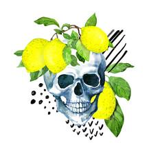 Human Skull With Lemon Fruits, Summer Leaves, Abstract Lines, Dots - Memphis Random Design. Watercolor
