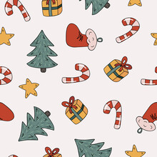 Christmas And New Year Seamless Pattern With Christmas Tree, Santa Claus' Sock, Star, Wrapped Gift Box With A Bow, Candy Cane. Cute Hand Drawn Vector Illustrations On The Beige Background.