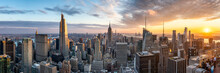 Manhattan Skyline Panorama At Sunset, New York City, USA