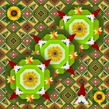 Gnome Christmas Pattern With Flower