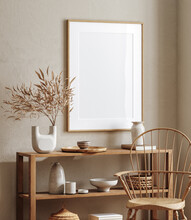 Mockup Frame Close Up In Living Room Interior Background, 3d Render
