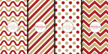 Abstract Geometric Pattern With Luxury Stripes Combination Set. Brochure Cover Template Zigzag, Polka Dots, Curve, Chevron, Line Collection. Christmas And Happy New Year