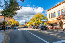 Shops And Cafes On Sherman Street In The Lakeside Downtown Area Of The Rural Mountain City Of Coeur D'Alene At Autumn.