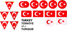 The Official Flag Of The Republic Of Turkey. Made To Original Specifications In Both Size And Color. Turkish Flag Set. Standard Turkish Flag Dimensions Vector.