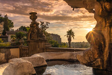 Fountain At Sunset View, Viterbo, Rome, Italy