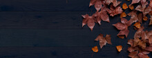 Thanksgiving Background With Fall Leaves On Dark Wood Tabletop.