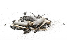 Cigarette Stubs In Ash Pile Isolated On White