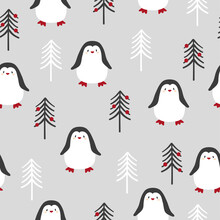 Merry Christmas Seamless Pattern With Cute Penguins And Trees. Vector Illustration