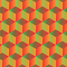 Gradient Isometric  Cubes Seamless Pattern In Green, Yellow ,orange . Great For Website Background, Covers ,banners And Textile