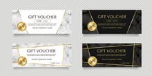 金色のラベルと大理石の背景のギフトカードベクターイラストセット